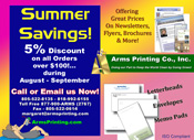 arms printing full service on site discount printers super summer savings coupons from www.armsprinting.com